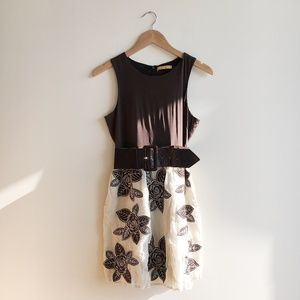 Alice + Olivia Brown Floral Applique Western Dress